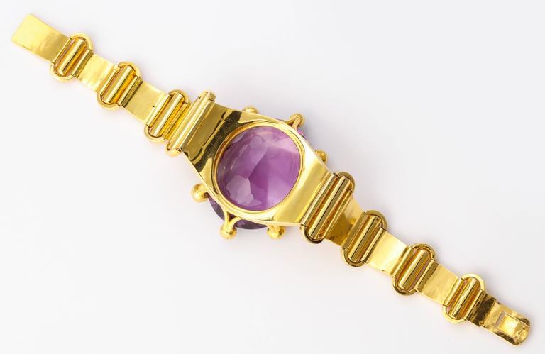 18 kt Victorian Amethyst Pearl Gold Bracelet 6