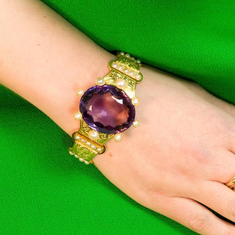 18 kt Victorian Amethyst Pearl Gold Bracelet 7