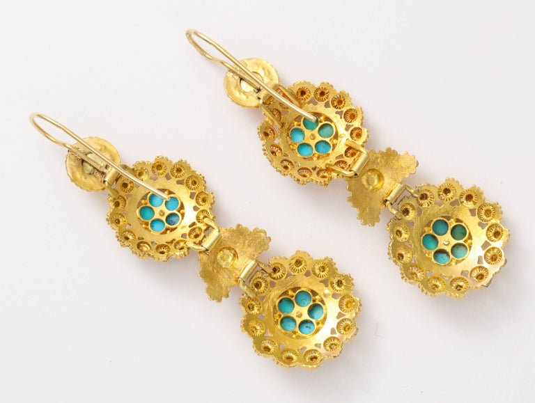 Antique Regency Cannetille Gold Turquoise Chandelier Earrings In Excellent Condition For Sale In Stamford, CT
