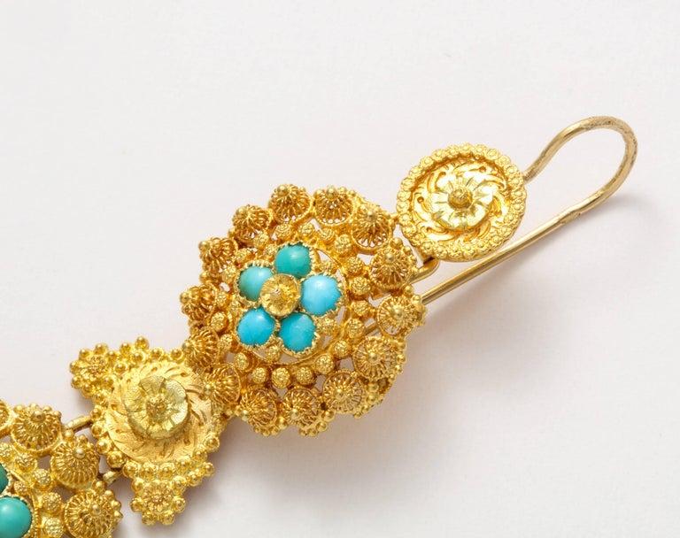 Women's or Men's Antique Regency Cannetille Gold Turquoise Chandelier Earrings For Sale