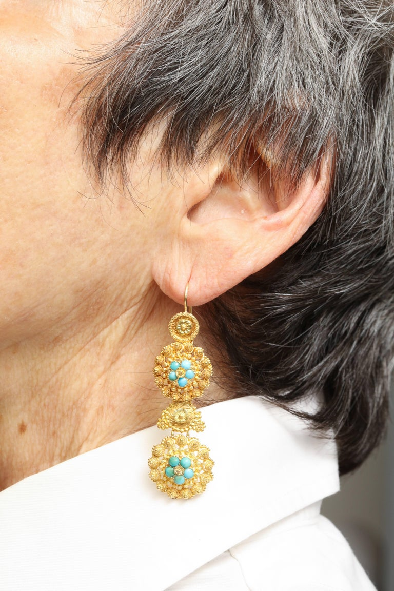Antique Regency Cannetille Gold Turquoise Chandelier Earrings For Sale 1