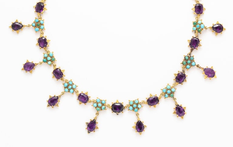 Victorian Era Turquoise Petal and Amethyst Necklace In Excellent Condition For Sale In Stamford, CT