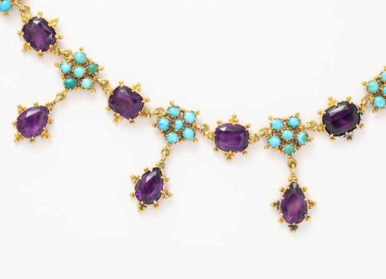 Women's Victorian Era Turquoise Petal and Amethyst Necklace For Sale