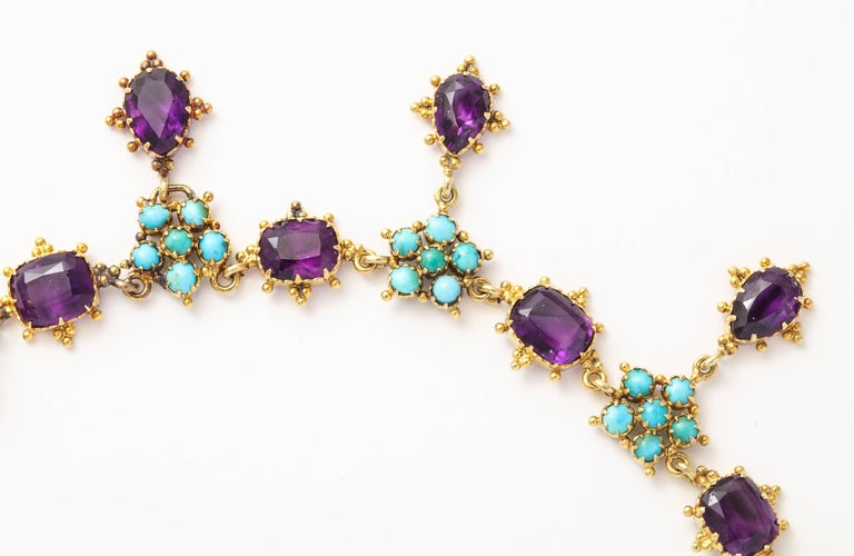Victorian Era Turquoise Petal and Amethyst Necklace For Sale 1