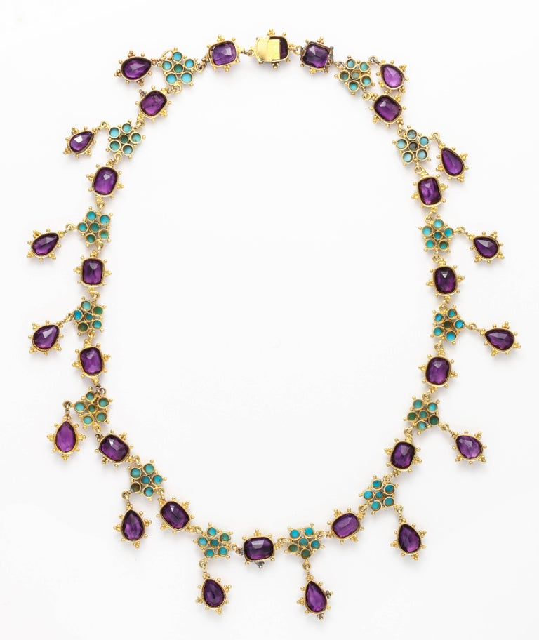 Victorian Era Turquoise Petal and Amethyst Necklace For Sale 2