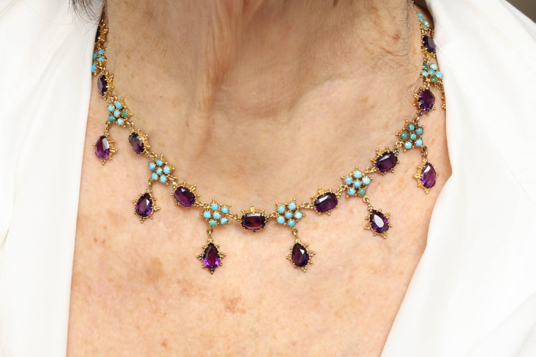 Victorian Era Turquoise Petal and Amethyst Necklace For Sale 3