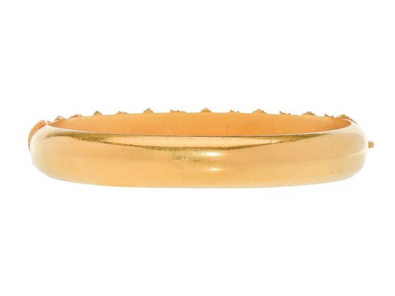 Antique Victorian Archeological Revival Gold Bangle Bracelet  4