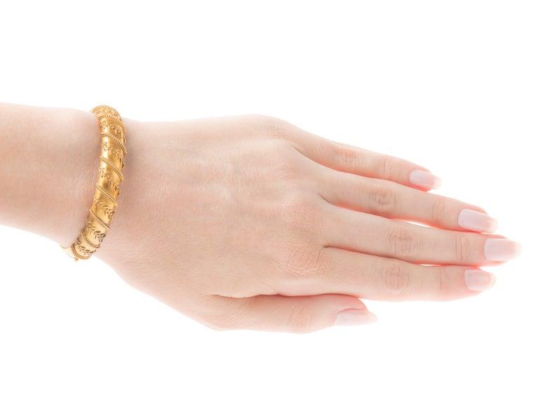 Antique Victorian Archeological Revival Gold Bangle Bracelet  5