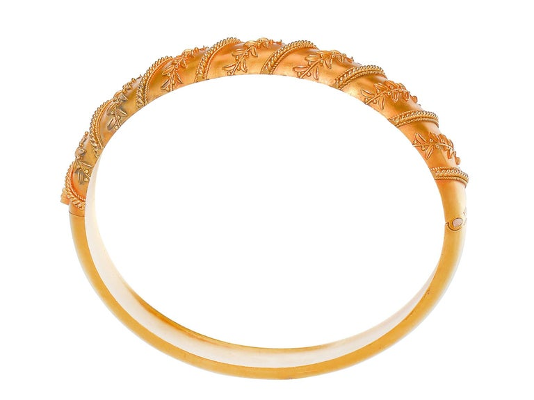 Antique Victorian Archeological Revival Gold Bangle Bracelet  6