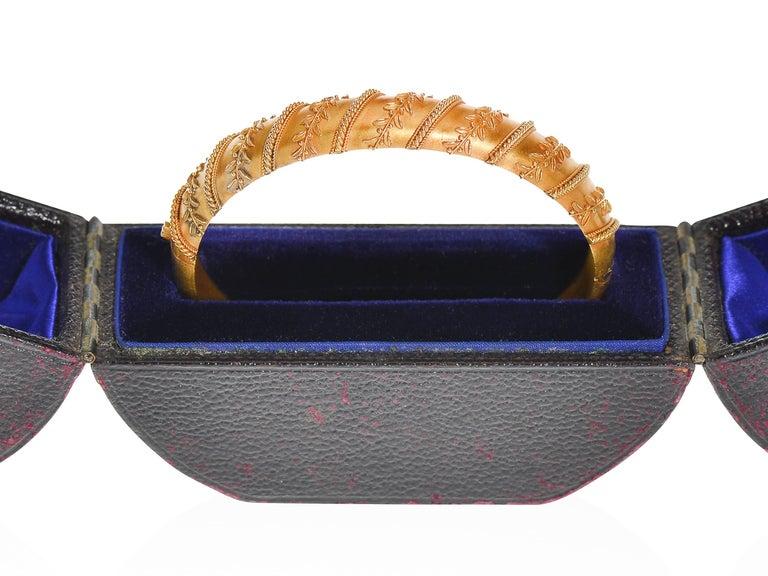 Antique Victorian Archeological Revival Gold Bangle Bracelet  7