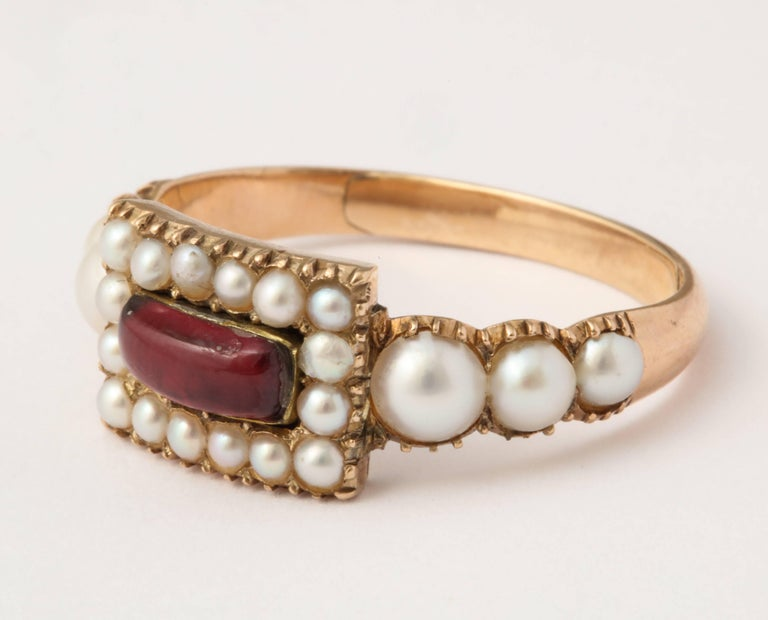 Victorian Natural Pearl and Garnet Ring For Sale