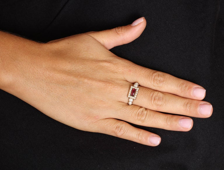 Women's or Men's Natural Pearl and Garnet Ring For Sale