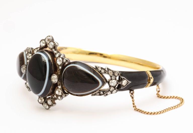 Old Mine Cut 15 kt Victorian Diamond and Banded Agate Enamel Bracelet  For Sale