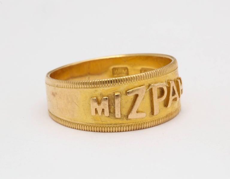 Mizpah 18 Karat Gold Hallmarked Ring Circa 1870 For Sale