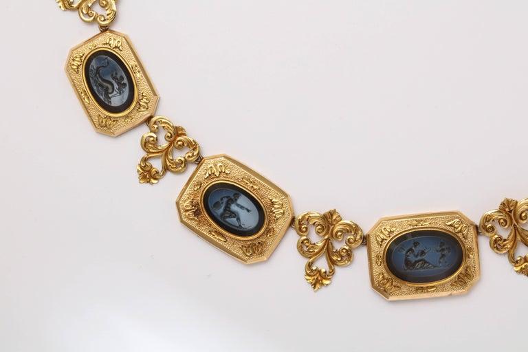 Women's 18 KT  Hardstone Intaglios Necklace  c.1860 Eleven Mythological Figures For Sale