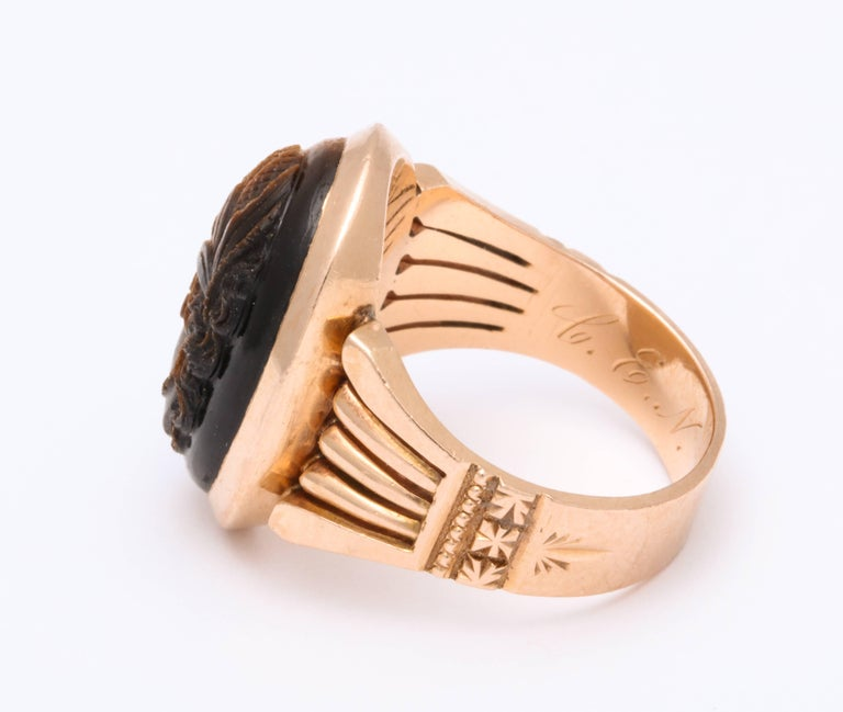 Women's or Men's Antique Victorian Tiger Eye Stone Cameo Gold Ring For Sale