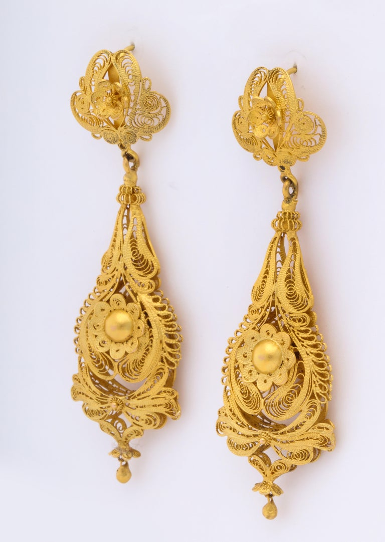 George IV Antique Georgian Gold Filigree Earrings For Sale