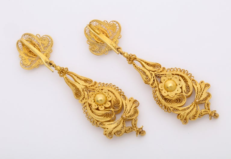 Women's Antique Georgian Gold Filigree Earrings For Sale