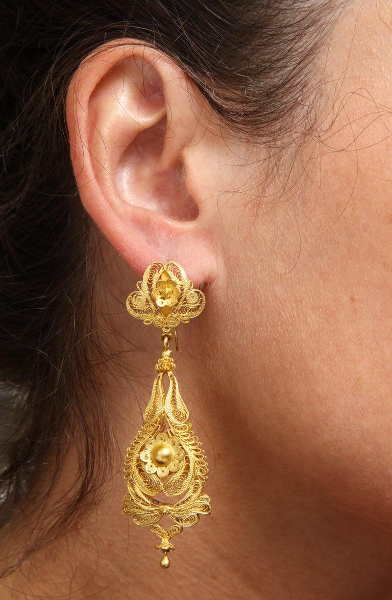 Antique Georgian Gold Filigree Earrings For Sale 1
