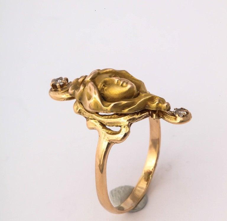 Art Nouveau Woman Diamond Gold Ring  5