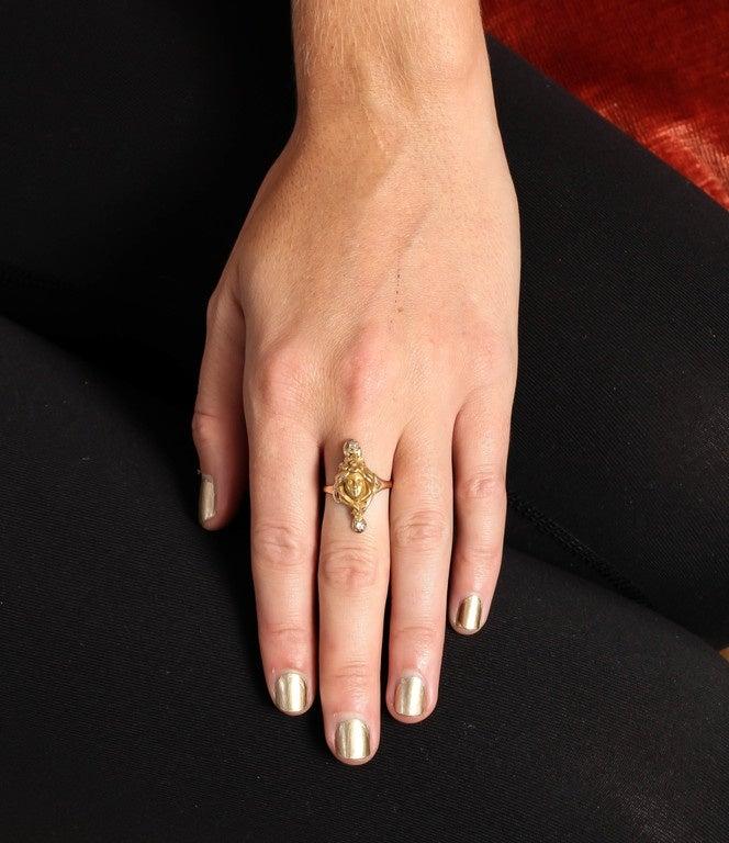 Art Nouveau Woman Diamond Gold Ring  7