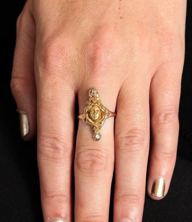 Art Nouveau Woman Diamond Gold Ring  8