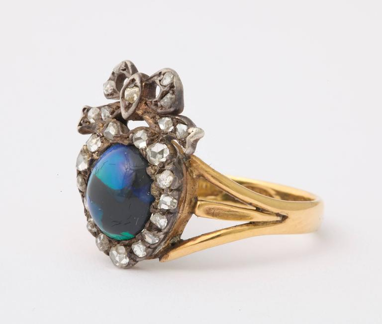 Adoration in a Sumptuous Black Opal Heart Ring In Excellent Condition For Sale In Stamford, CT