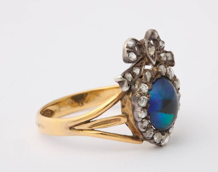 Adoration in a Sumptuous Black Opal Heart Ring For Sale 3