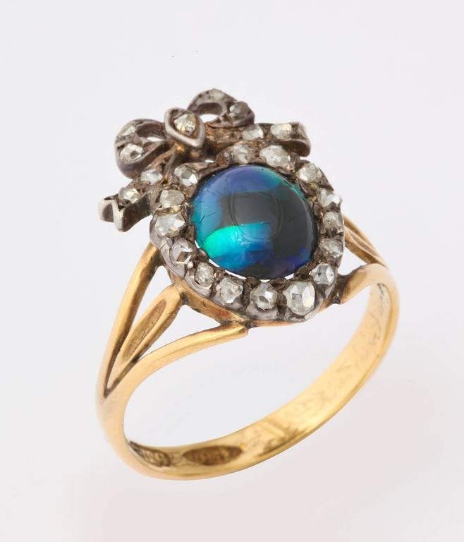 Victorian Adoration in a Sumptuous Black Opal Heart Ring For Sale