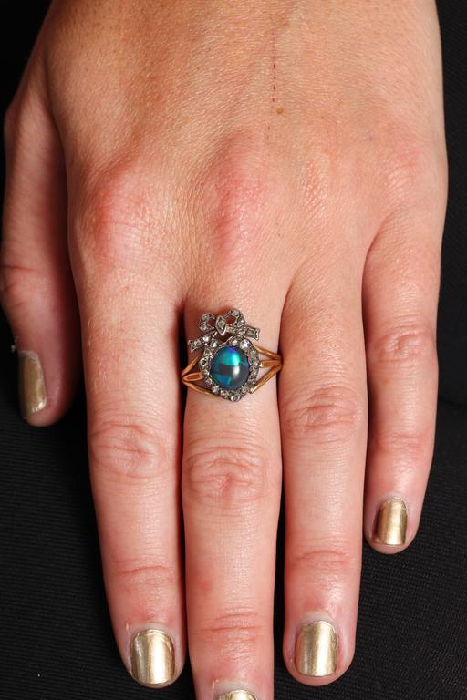 Adoration in a Sumptuous Black Opal Heart Ring For Sale 2