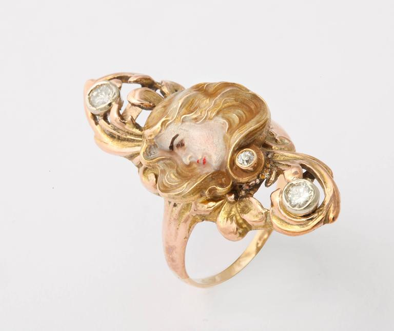 Sun Lit Profile of a Lady Art Nouveau Ring with Diamonds 3