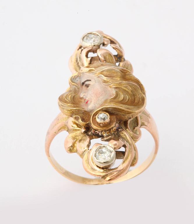 Sun Lit Profile of a Lady Art Nouveau Ring with Diamonds 2