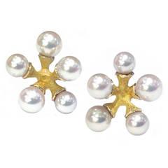 John Iversen Akoya Pearl Gold Micro Jack Stud Earrings
