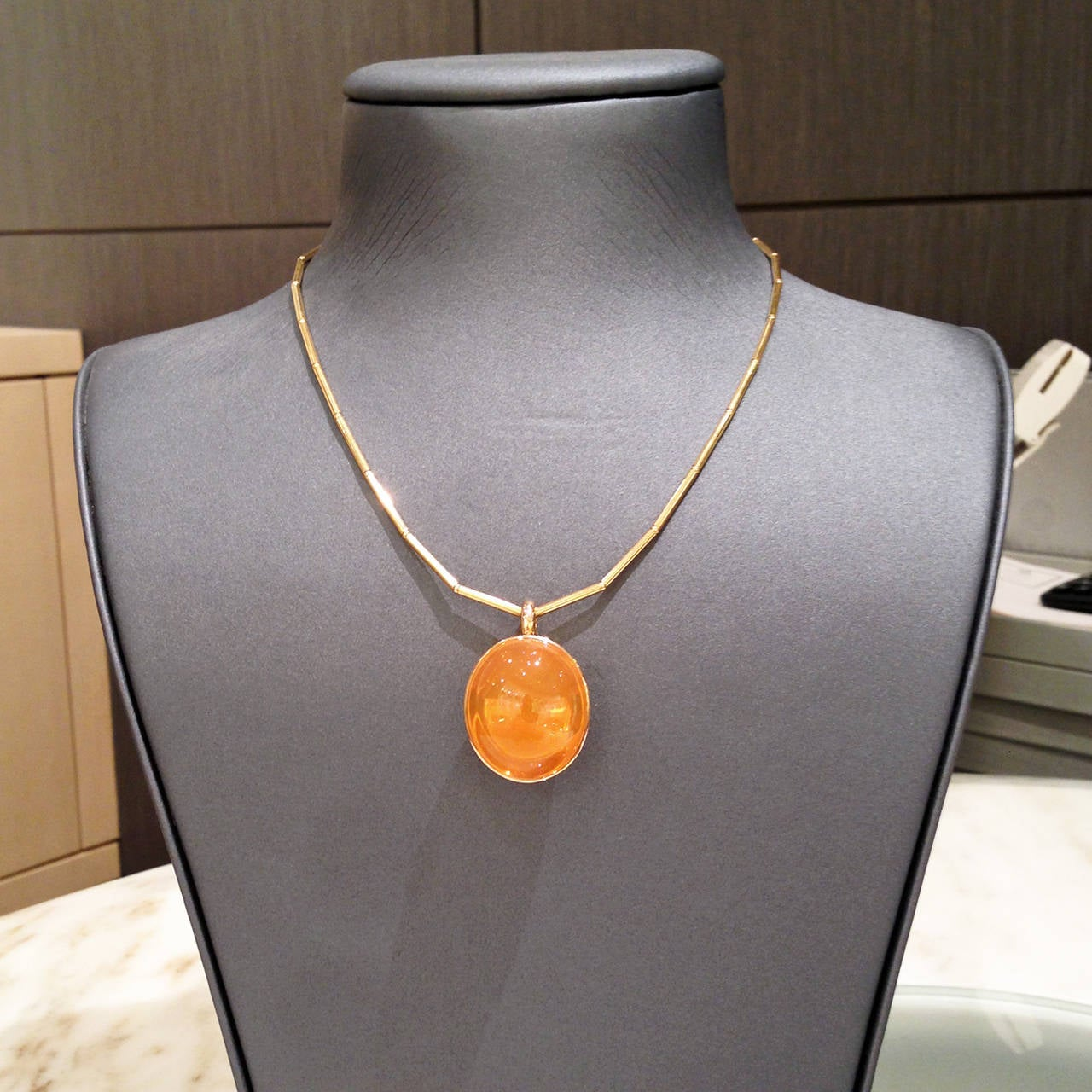 Glowing 50 Carat Fire Opal Gold Bowl Pendant Necklace 3