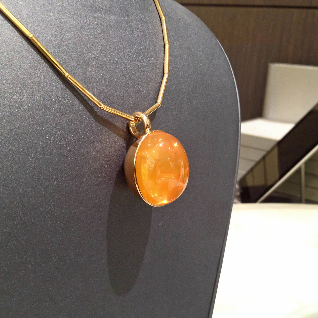 Glowing 50 Carat Fire Opal Gold Bowl Pendant Necklace 5