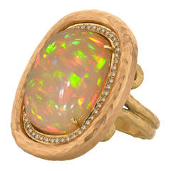 Pamela Froman 14.36 Carat Ethiopian Opal White Diamond One of a Kind Ring