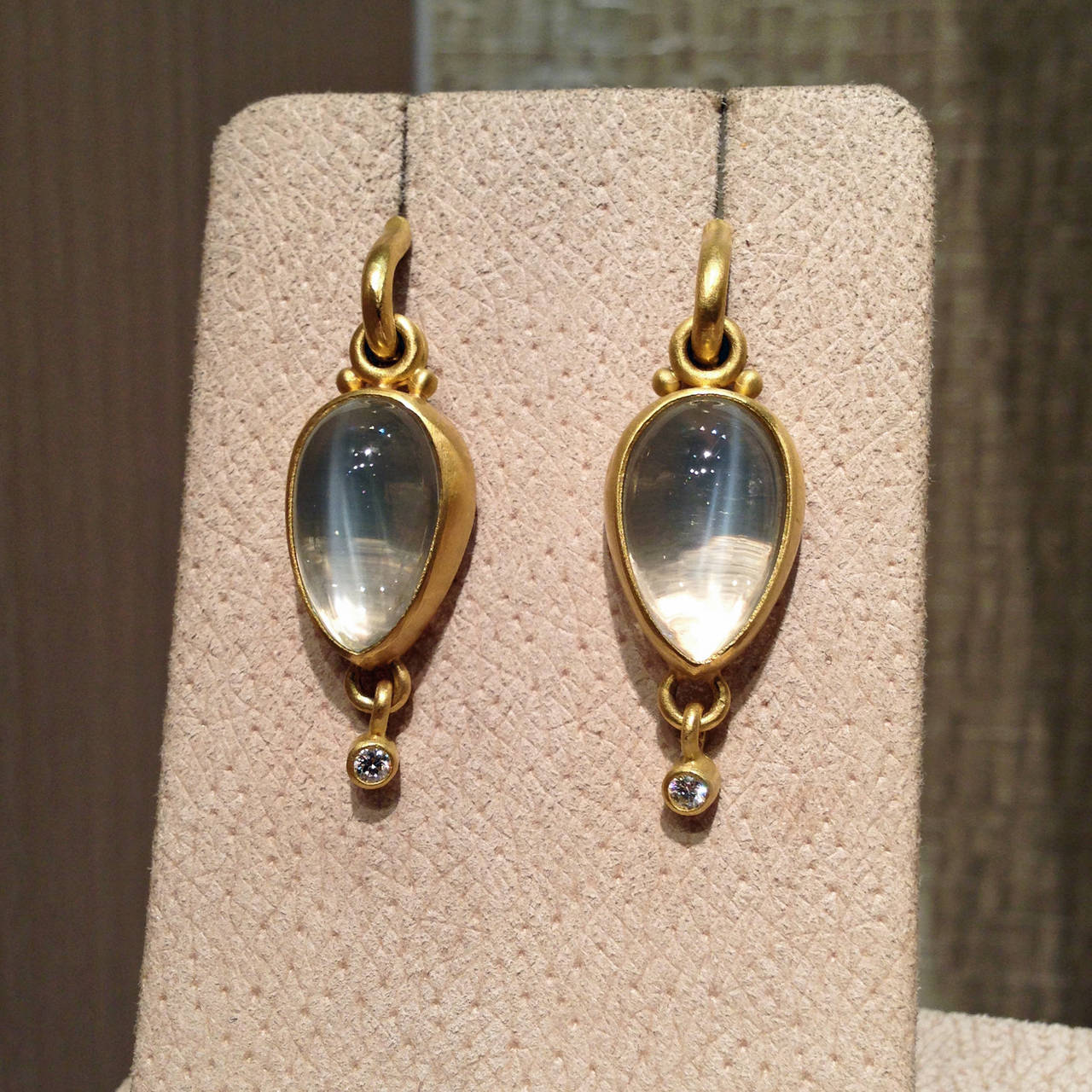 One Of A Kind Bubble Bezel Drop Earrings Handcrafted In 22k Yellow