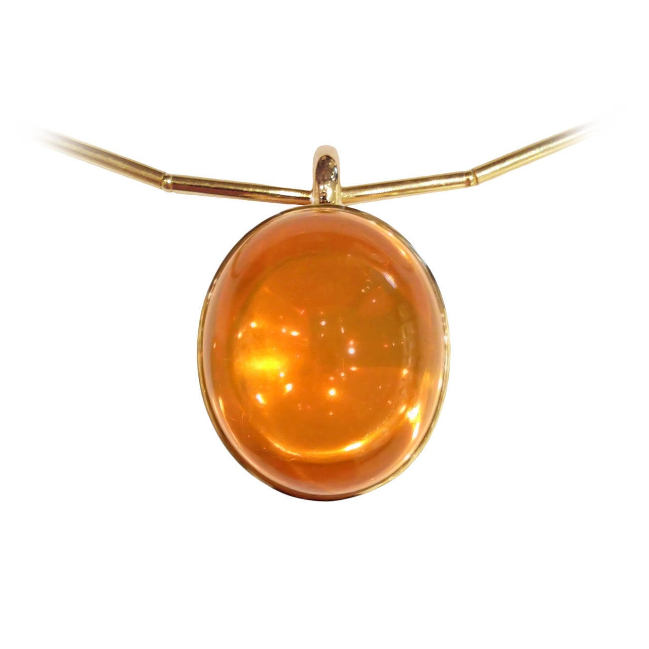Glowing 50 Carat Fire Opal Gold Bowl Pendant Necklace 1