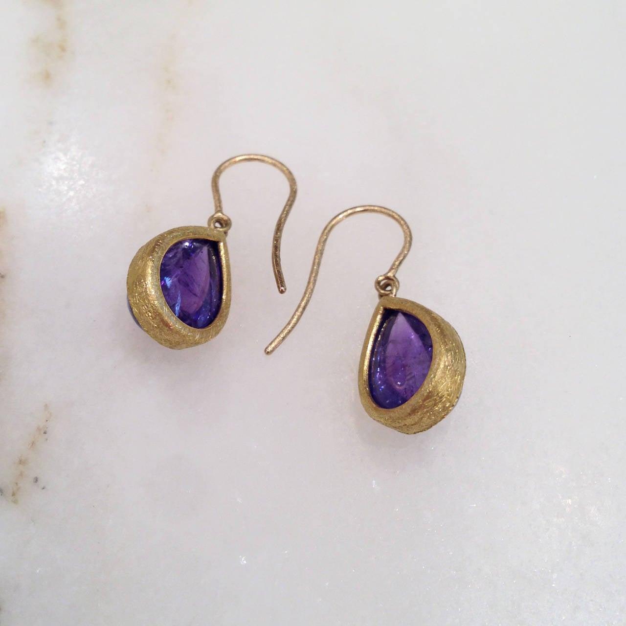Devta Doolan Tanzanite Bubble Gold Dangle Earrings 4