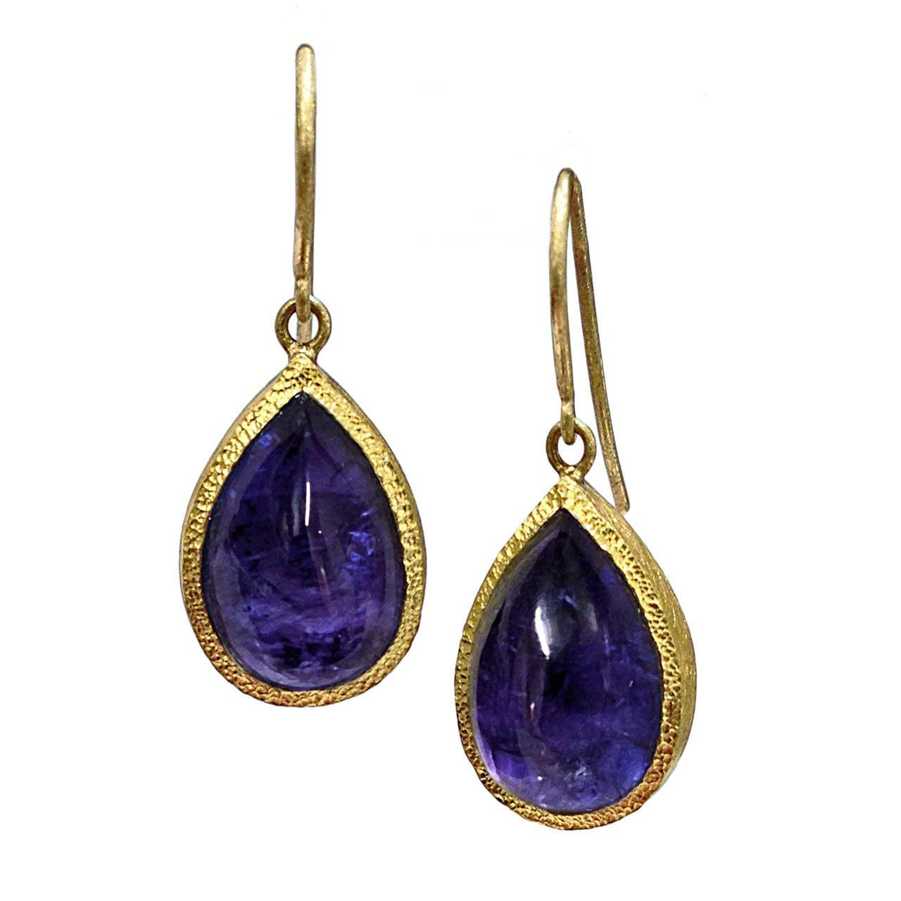 Devta Doolan Tanzanite Bubble Gold Dangle Earrings 1