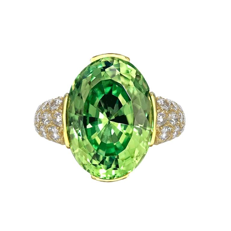 Susan Sadler 9 68 Carat Oval Tsavorite Diamond Gold Basket