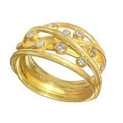 Barbara Heinrich Handmade Multi Wrap Diamond Matte Gold Band Ring