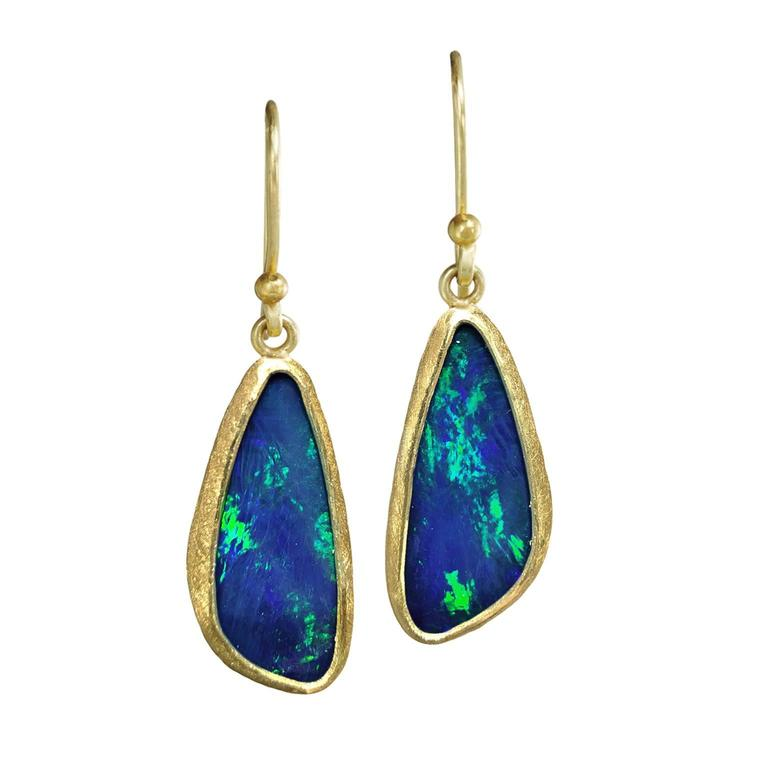 Petra Class Blue Green Australian Opal Gold Doublet Handmade Dangle Drop Earring For Sale