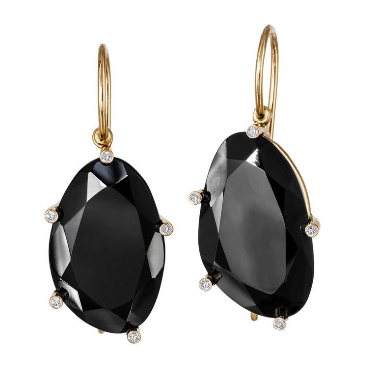 Erich Zimmermann Faceted Black Spinel Diamond Gold Earrings