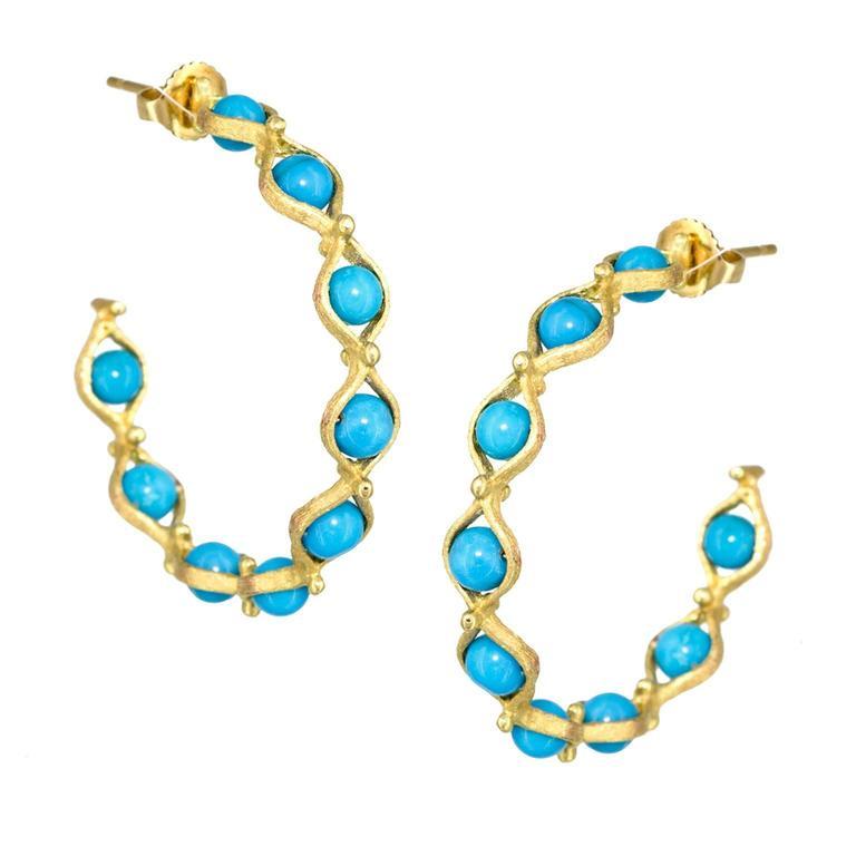 Joseph Murray Turquoise Satin Gold Infinity Hoop Handmade Earrings For Sale