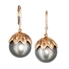 Tahitian Pearl White Diamond Rose Gold Flower Cap Drop Earrings