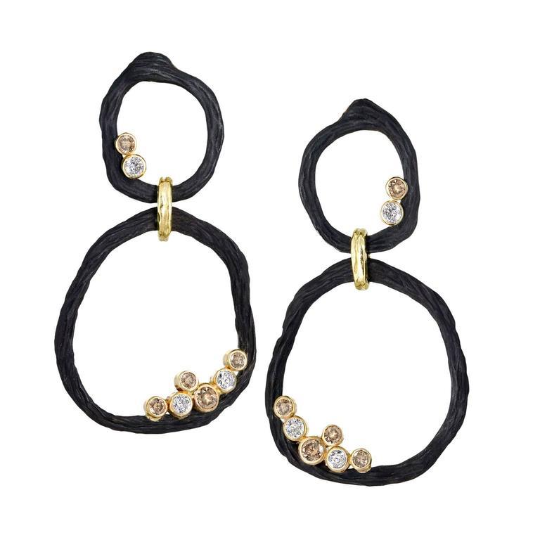 Double Circle White and Cognac Diamond Gold Dangle Drop Earrings
