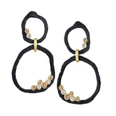 Sarah Graham Double Circle White and Cognac Diamond Drop Earrings