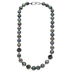 "Black Diamond Embedded Baroque Tahitian Pearl Rhodium Gold 18"" Necklace"