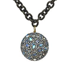 Fern Freeman Faceted Blue Moonstone Rhodium Silver Gold Accented Necklace